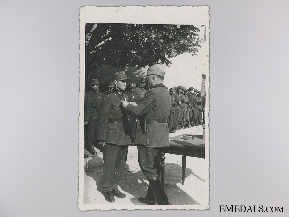 eMedals-A Period Photograph; Croatian Officer awarding Ustasa Troops