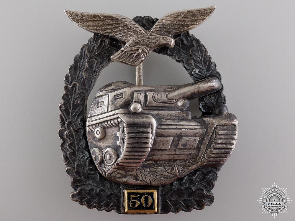 eMedals-A Post War Luftwaffe Tank Assault Badge; 50 Grade