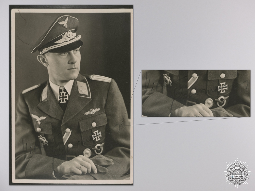 eMedals-A Post War Signed Photograph of Knight's Cross Recipient; Viktor Petermann
