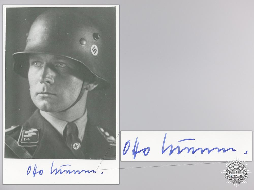 eMedals-A Post War Signed Photograph of Knight's Cross Recipient; Otto Kumm