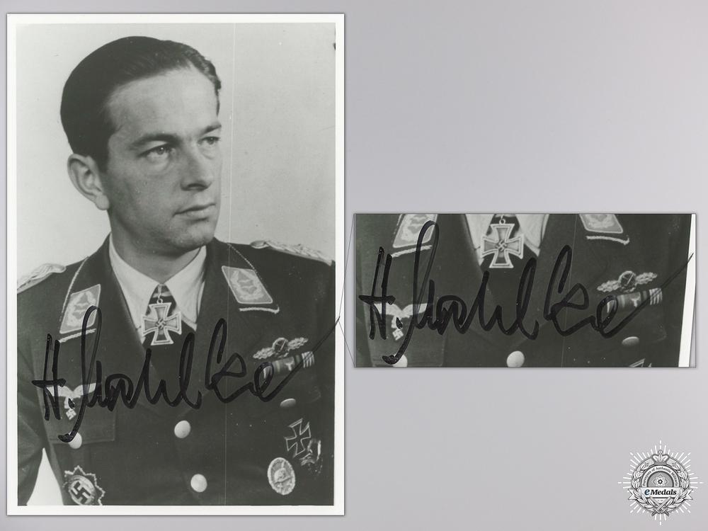 eMedals-A Post War Signed Photograph of Knight's Cross Recipient; Helmut Mahlke