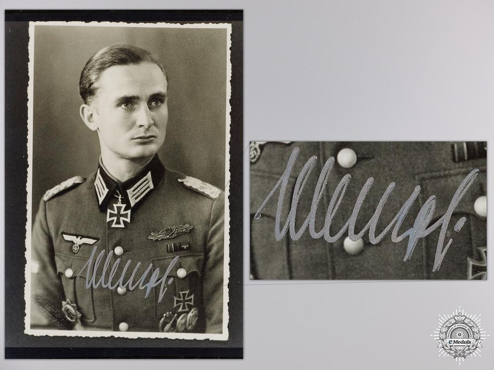 eMedals-A Post War Signed Photograph of Knight's Cross Recipient; Joachim Menzel