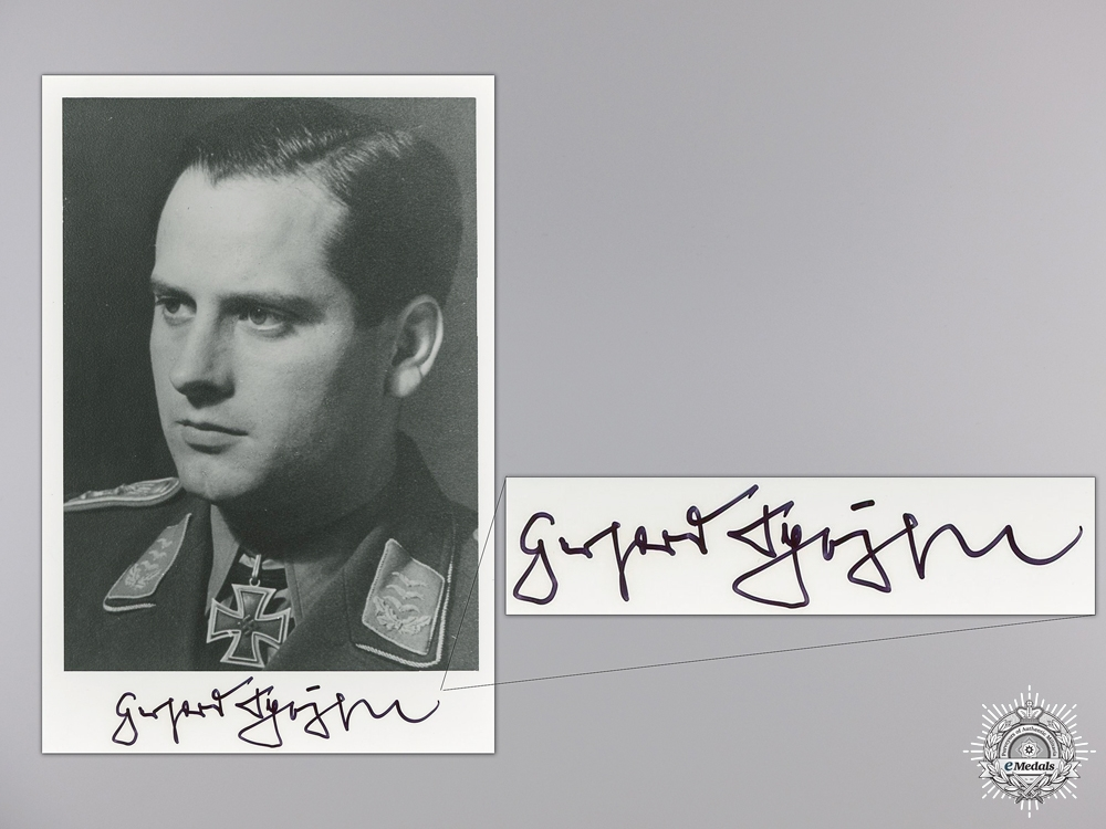 eMedals-A Post War Signed Photograph of Knight's Cross Recipient; Schöpfel