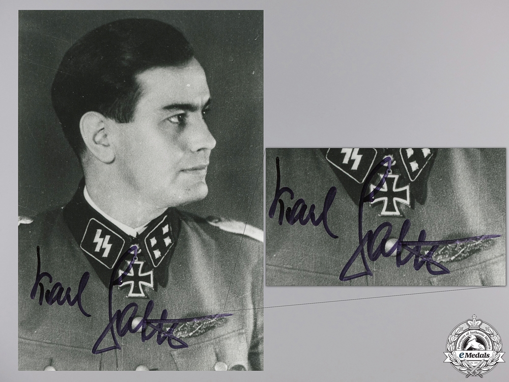 eMedals-A Post War Signed Photograph of Knight's Cross Recipient; Sattler