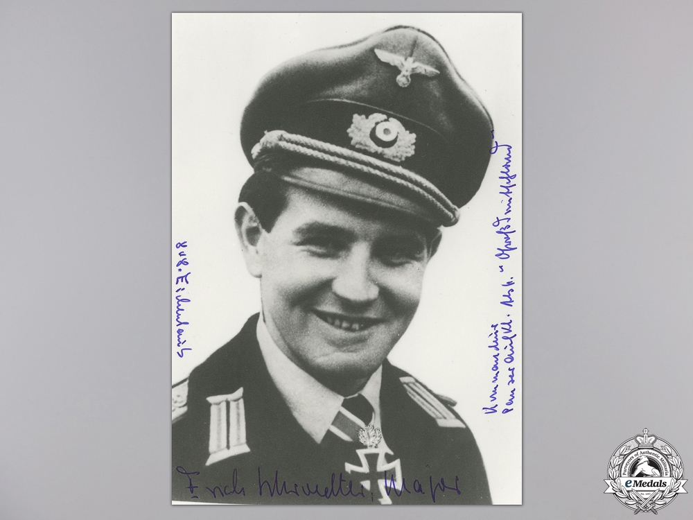 eMedals-A Post War Signed Photograph of Knight's Cross Recipient; Schroedter
