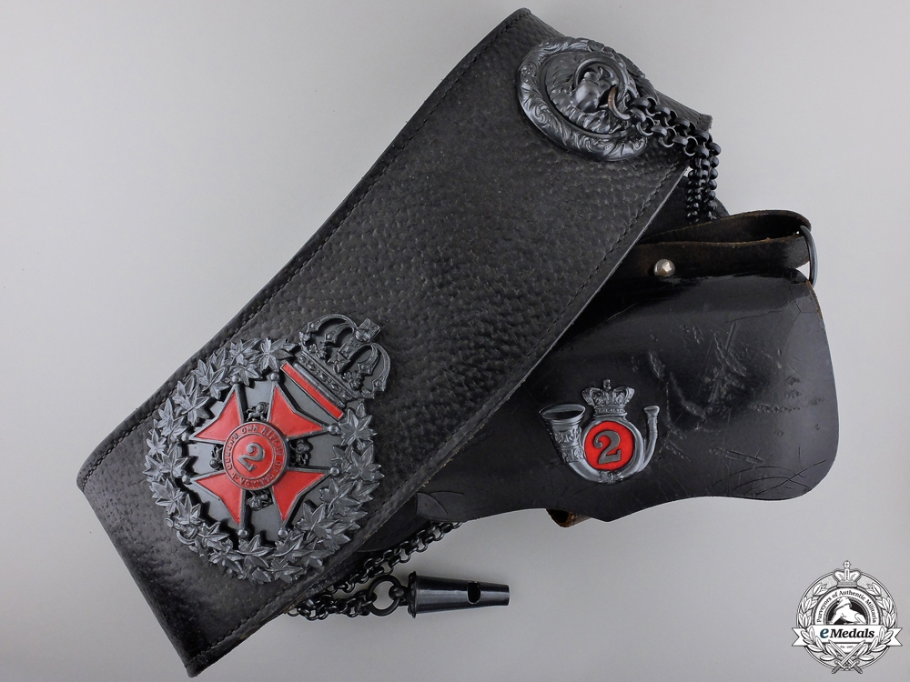 eMedals-A Queen's Own Rifles of Canada Contemporary Black Leather Cross Belt
