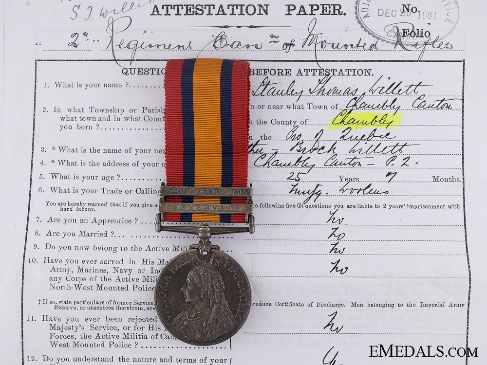 eMedals-A Queen's South Africa Medal to a French Canadian; Can.M.R.