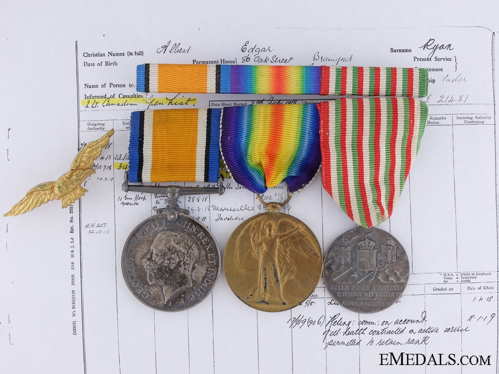 eMedals-A R.F.C. Medal Group to Canadian Lieut. Wounded at Piave 1917