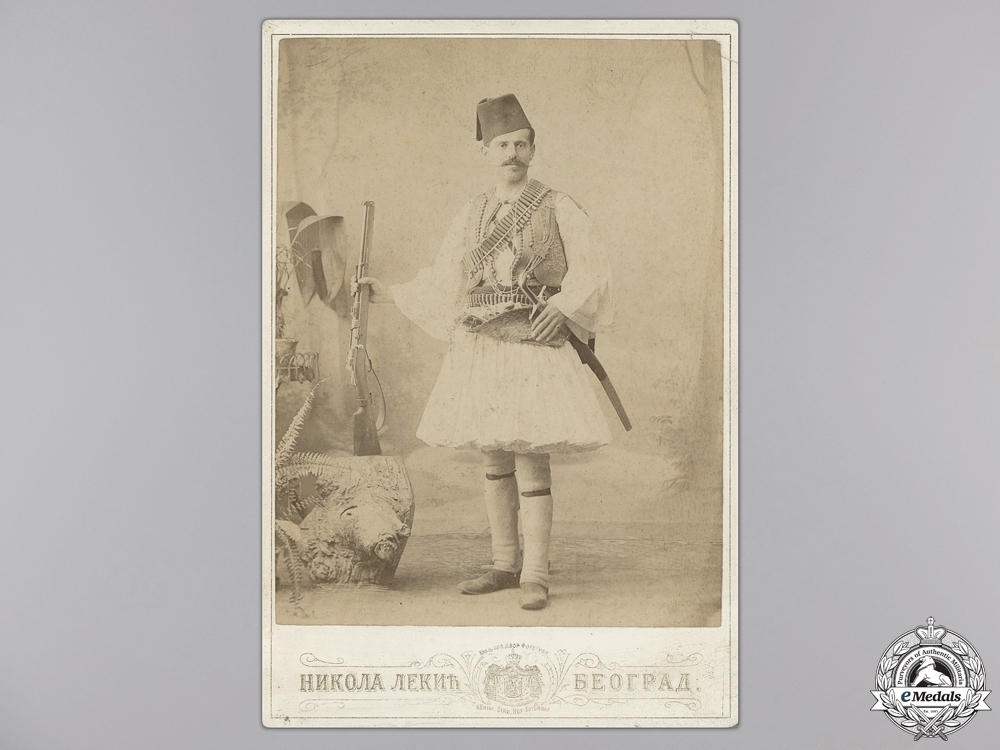 eMedals-A Rare 1902 Cabinet Portrait of a Chetnik Fighter