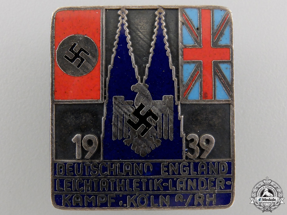 eMedals-A Rare 1939 UK-Germany Athletic Games Badge