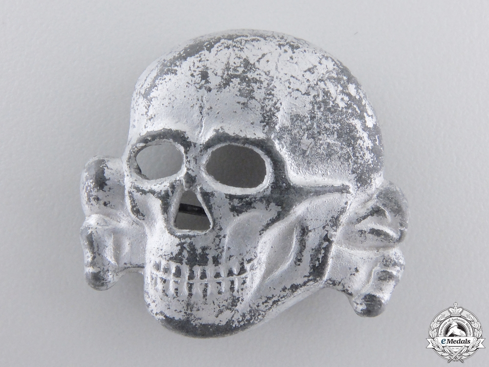 eMedals-A Rare Belgian Made SS Visor Cap Skull