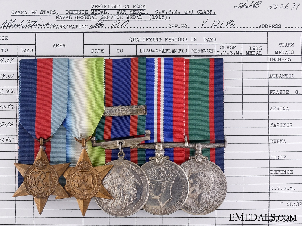 eMedals-A Rare Canadian Naval Volunteer Reserve Medal Group to Stoker Forbes