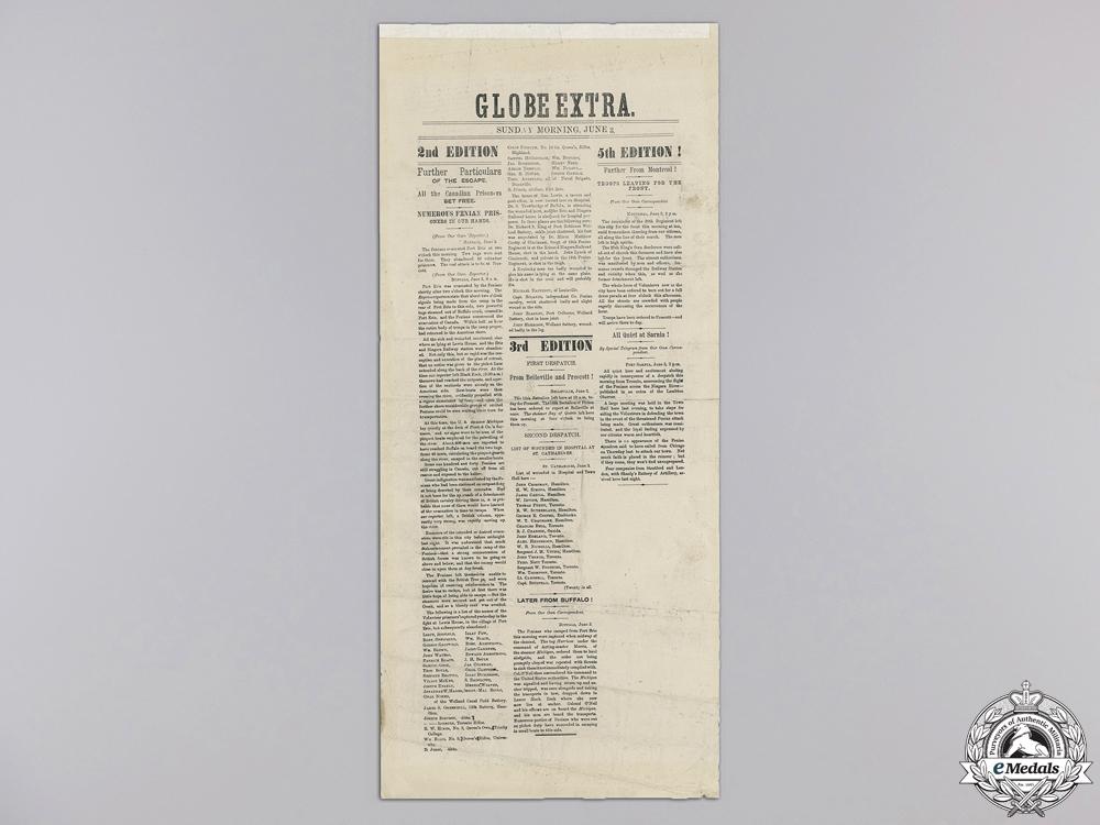 eMedals-A Rare Fenian Raid Globe Extra Posting of June 3, 1866