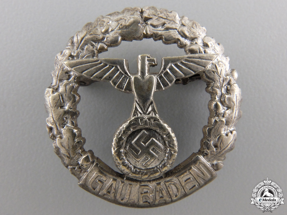 eMedals-A Rare GAU Honor Badge Baden; Small Version