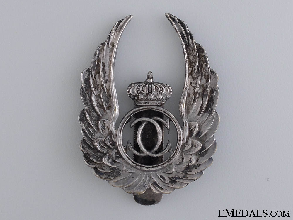 eMedals-A Rare Romanian Air Force Observer Badge in Silver
