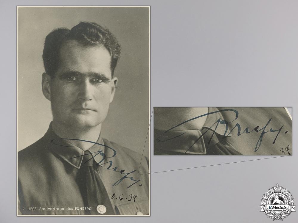 eMedals-A Rare Rudolf Hess Signature 8.6.1939