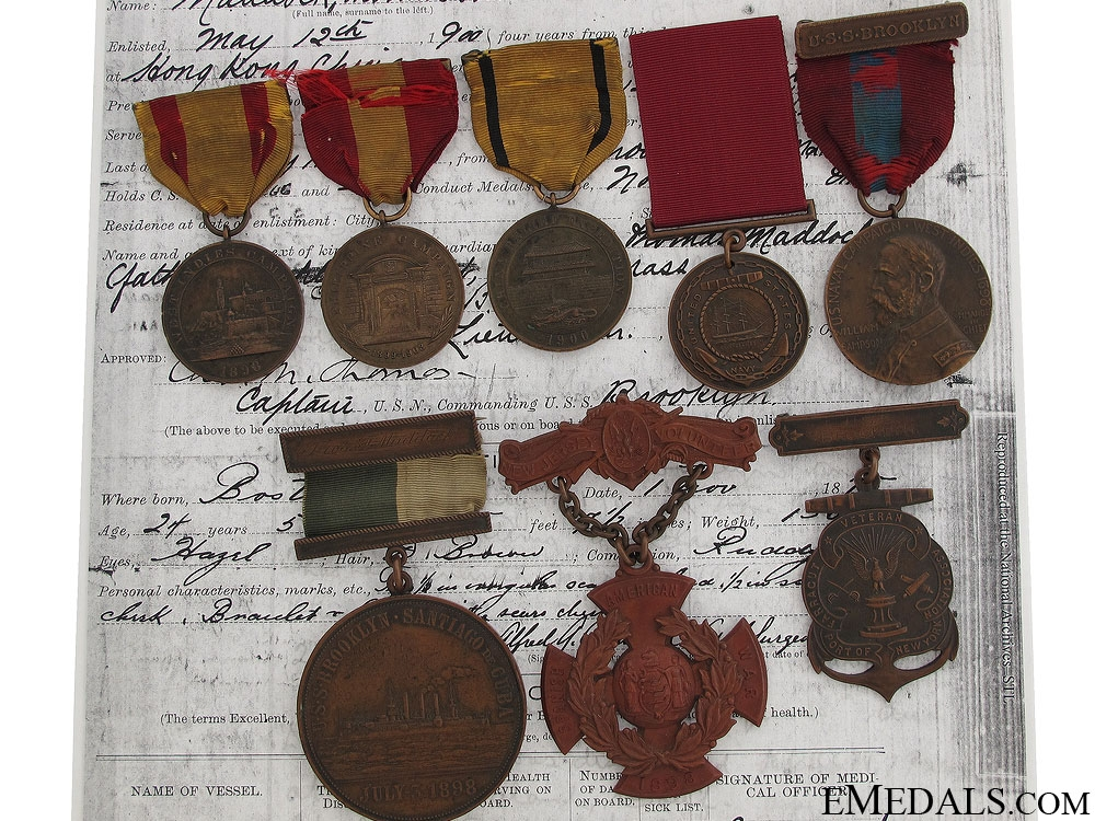 eMedals-A Rare U.S.S. Brooklyn Medal Group to T.Maddock