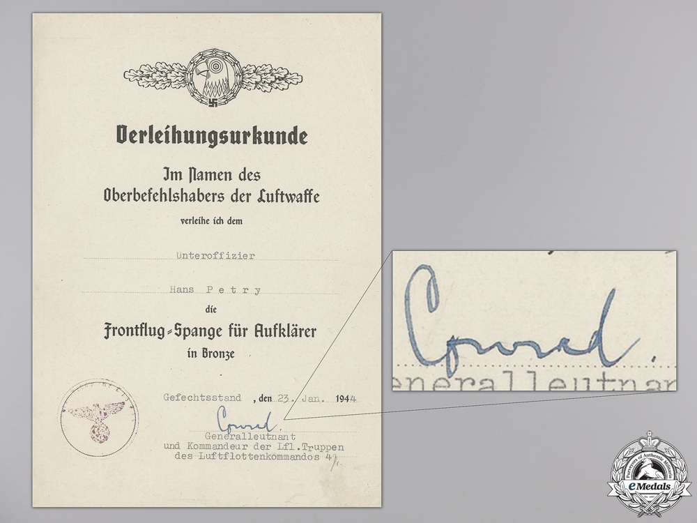 eMedals-A Reconnaissance Squadron Clasp Award Document; Bronze Grade