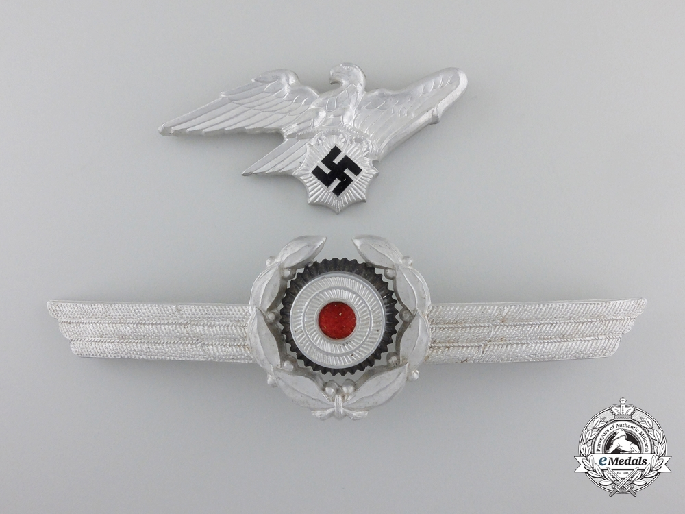 eMedals-A Reichs Luftschutz Bund Visor Wreath and Eagle