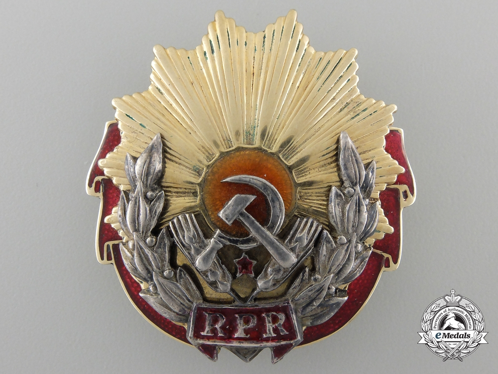 eMedals-A Romanian Order of Labour; First Class in Gold