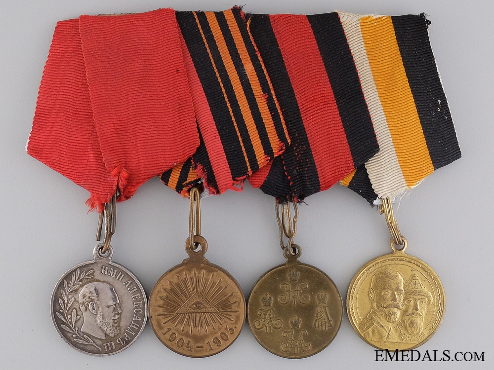 eMedals-A Russian Imperial Medal Bar of Four Awards