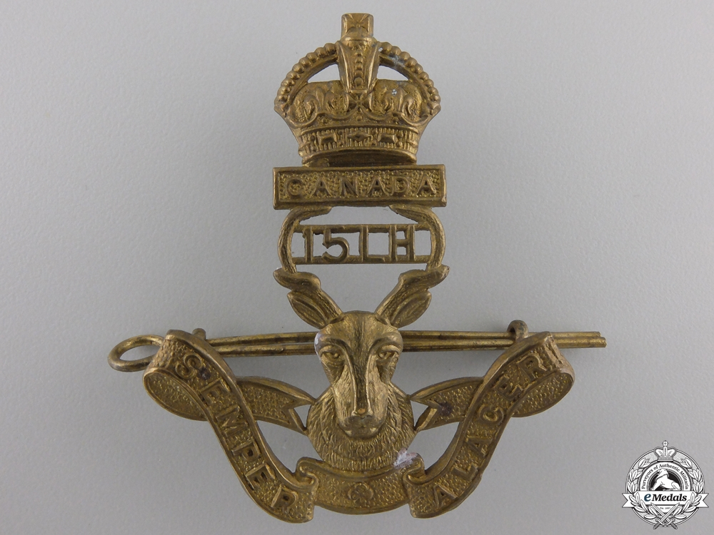 eMedals-A Second War 15th Alberta Light Horse Cap Badge