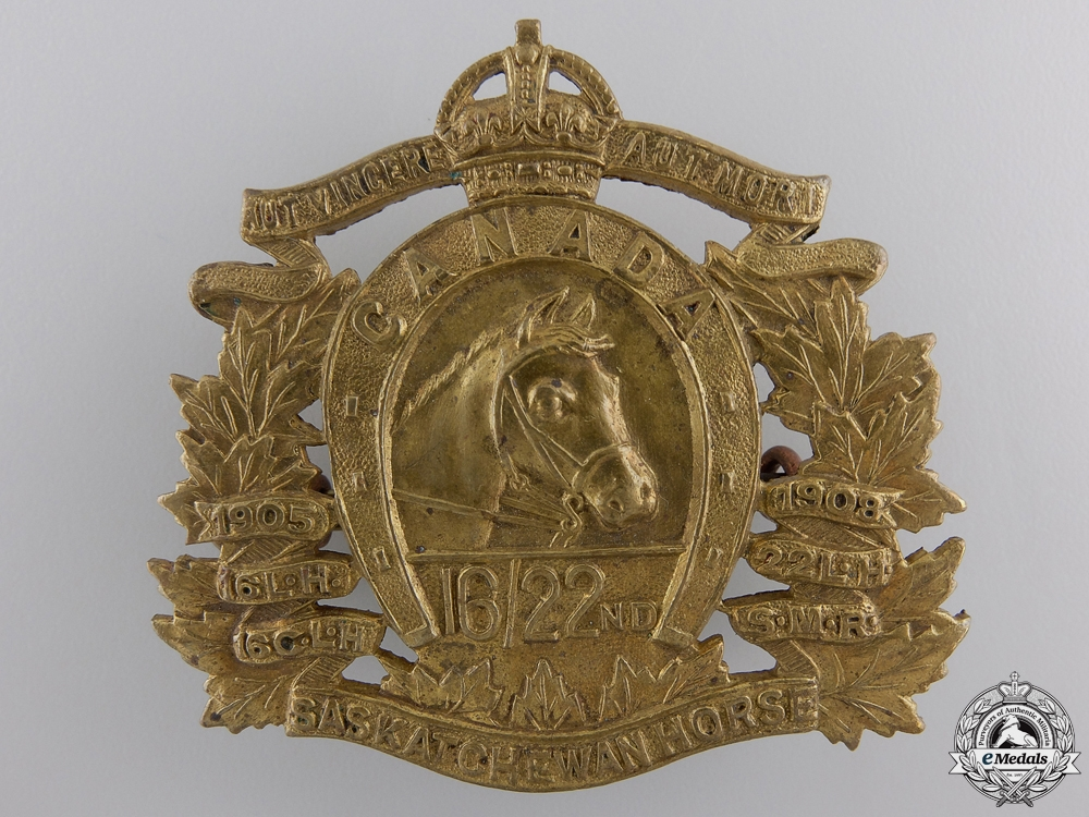 eMedals-A Second War 16th/22nd Saskatchewan Horse Cap Badge