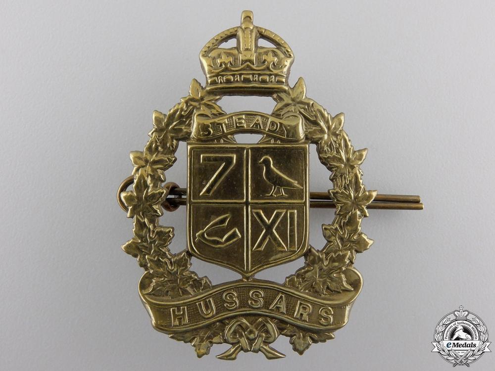 eMedals-A Second War 7th-11th Hussars (Bury, QC) Cap Badge