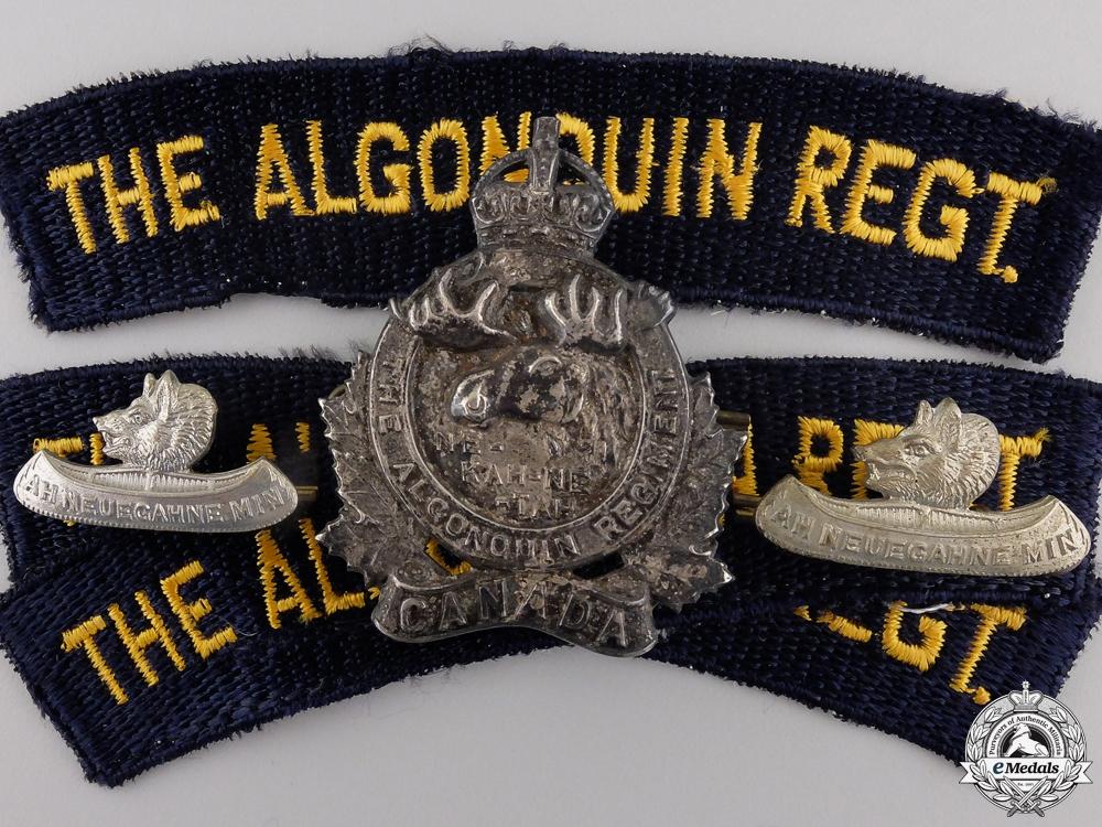 eMedals-A Second War Algonquin Regiment Officer's Insignia Set