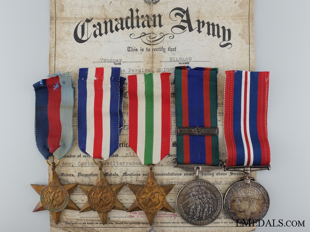 eMedals-A Second War Canadian Medal Group to Trooper Percival Bright