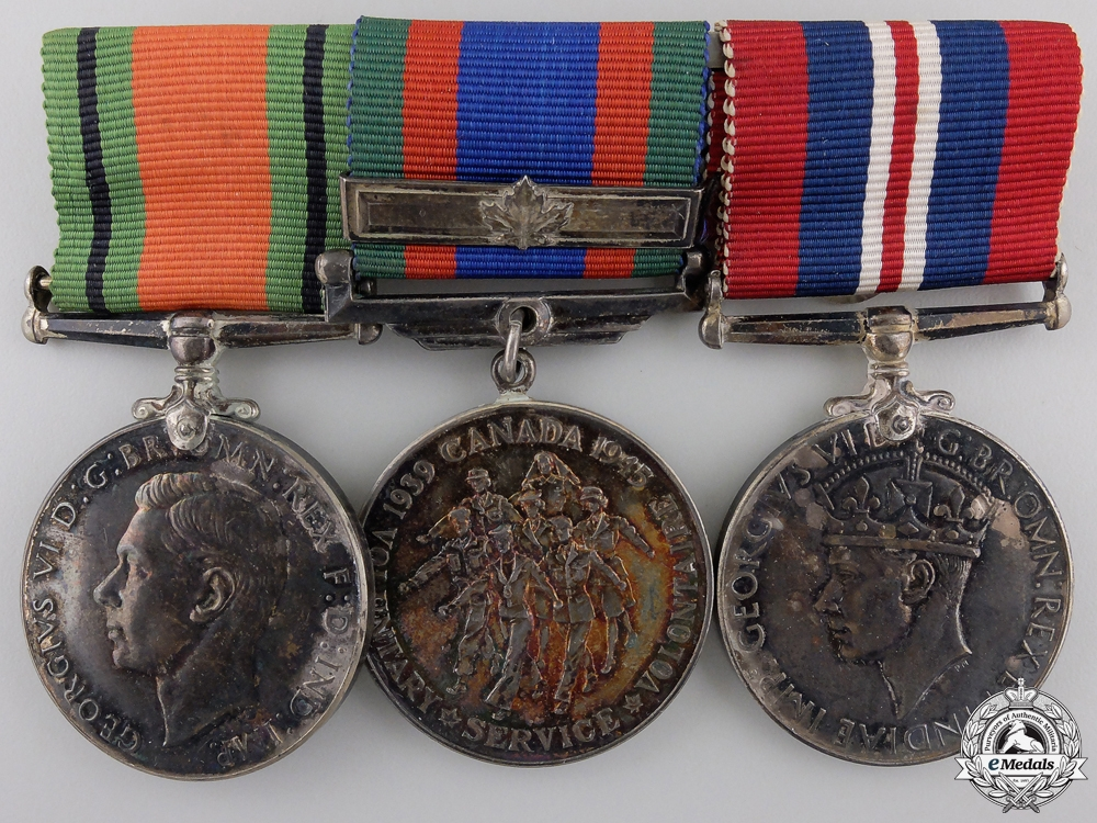 eMedals-A Second War Canadian Three Piece Medal Bar