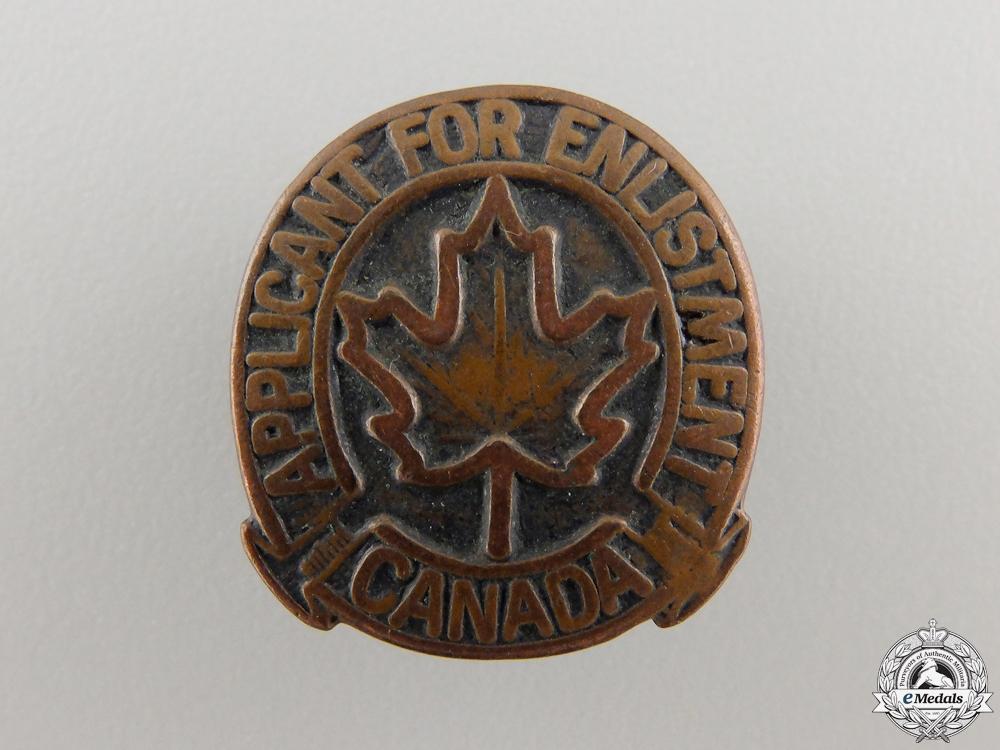 eMedals-A Second War Canadian Applicant for Enlistment Badge