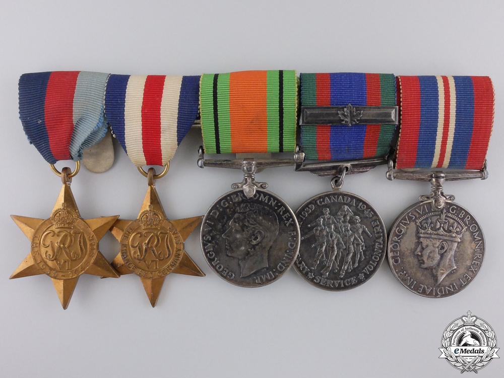 eMedals-A Second War Canadian North West Europe Medal Bar