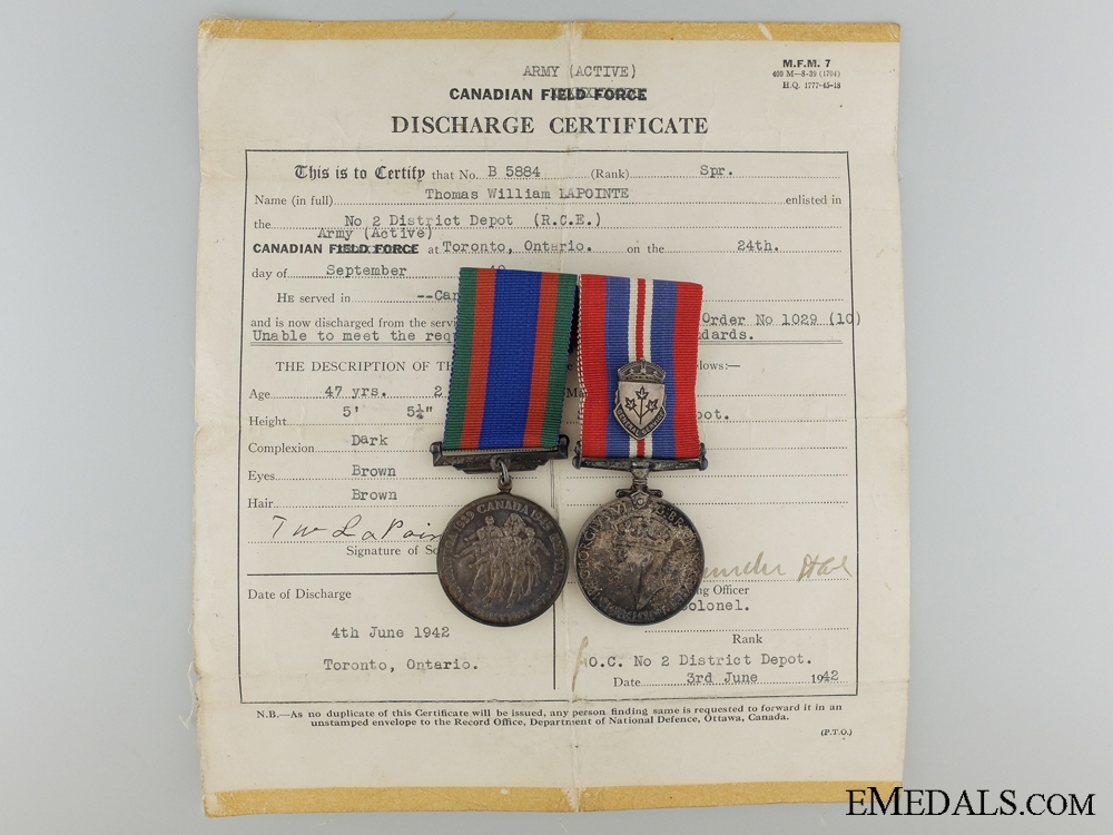 eMedals-A Second War Medal Pair to the Royal Canadian Engineers