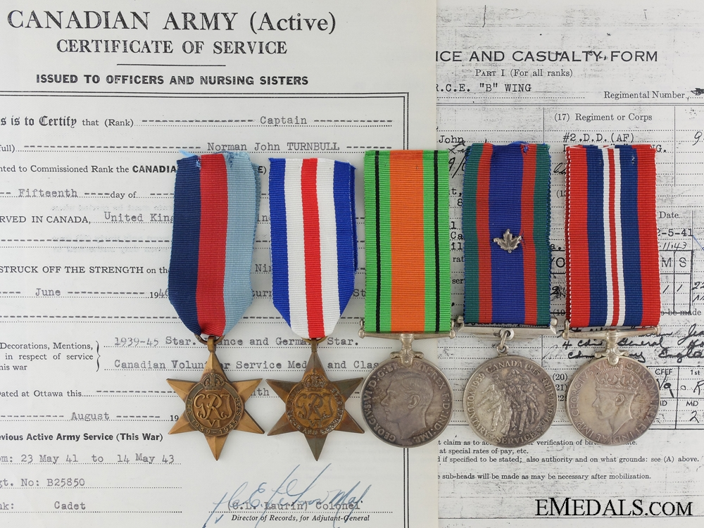 eMedals-A Second War Medal Group to Captain Turnbull; Canadian Infantry