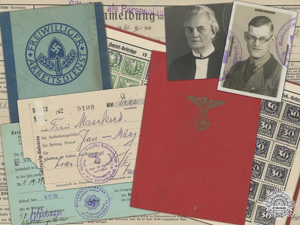 eMedals-A Second War RAD & NSDAP Document Group to Maerhert Family