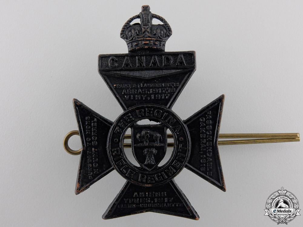 eMedals-A Second War Regina Rifle Regiment Cap Badge
