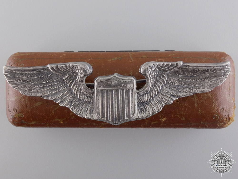 eMedals-A Second War Silver Army Air Force Pilot Badge with Cased