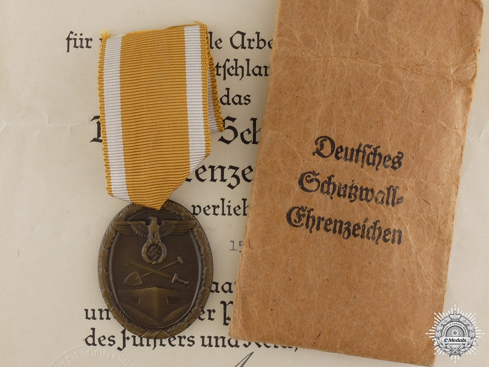 eMedals-A Second War West Wall Medal & Award Document to the RAD