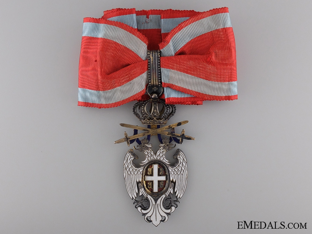 eMedals-A Serbian Order of the White Eagle with Swords; Neck badge Third Class