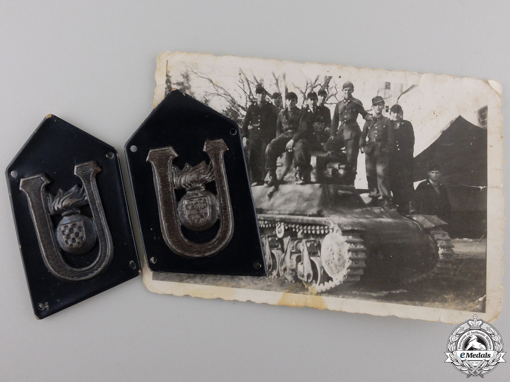 eMedals-A Set of Croatian Tank/Armoured Regiment Collar Badges with Photo