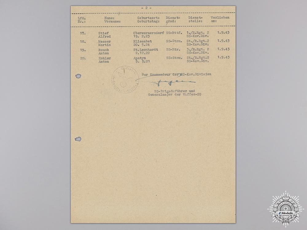 eMedals-A Signature of SS Panzer Commander Hans Fegelein