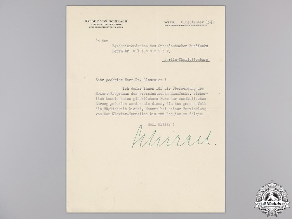 eMedals-A Signed Letter from Baldur Von Schirach; September 8th 1941