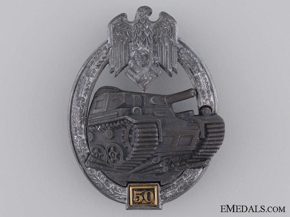 "eMedals-A Silver Grade Tank Badge ""50"""