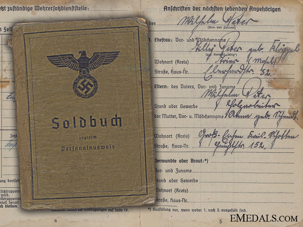 eMedals-A Soldbuch to 105th Infantry KIA at Nantueil France 1940