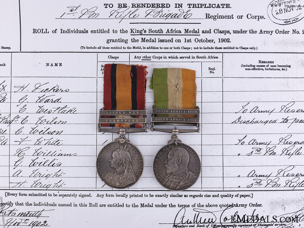 eMedals-A South African War Pair to the Rifle Brigade