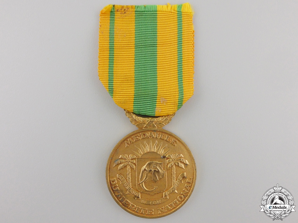 eMedals-An Ivory Coast Medal of National Merit Medal; Gold Grade