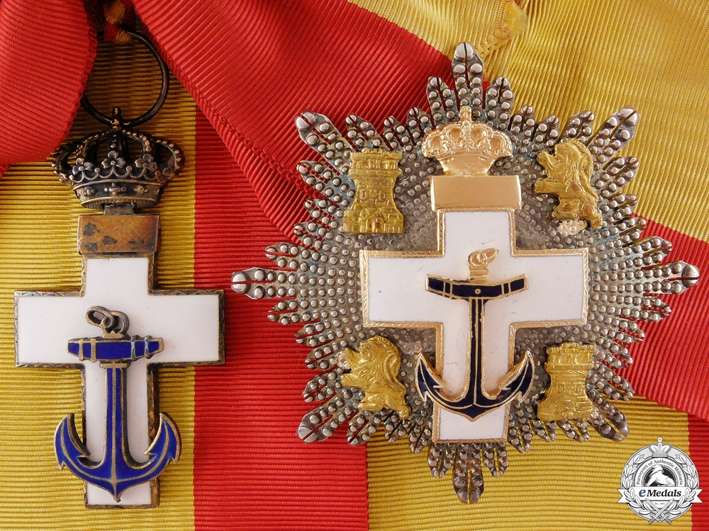 eMedals-A Spanish Order of Naval Merit; 1889-1931 Grand Cross