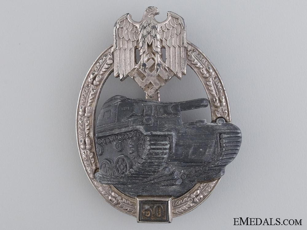 eMedals-A Tank Badge Grade III (50); Silver Grade by Josef Feix & Sohn