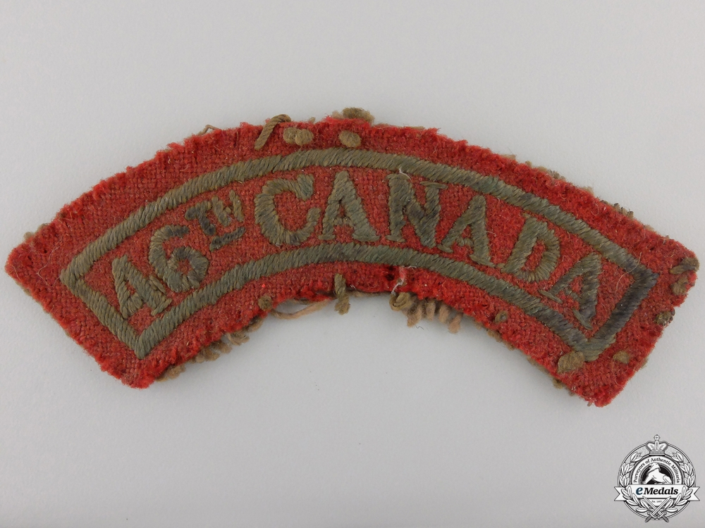 eMedals-A Tunic Removed WWI 46th Canadian Infantry Shoulder Flash